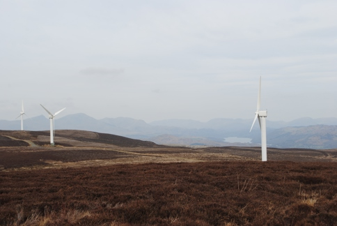 Wind turbines on Kirkby Moor looking north to Coniston